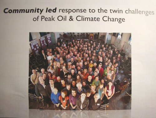Community Led Response to Peak Oil and Climate Change.....Ink jet print of a PowerPoint presentation of the fundamentals of Transition Towns